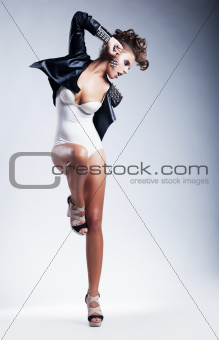Expressive emotions - provocative young woman. Dance