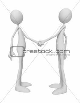 3D Little Human Characters Shaking Hands
