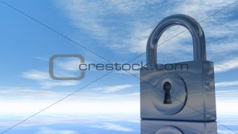padlock under blue sky