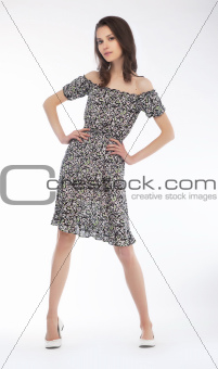 Modern fashion model european girl on podium