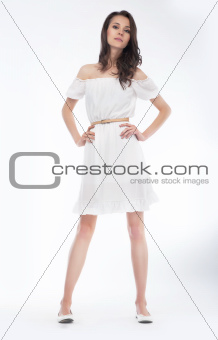 Fashionable stylish girl - fashion model in dress