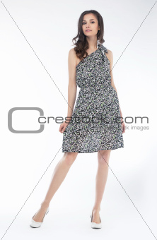 Style and elegancy - stylish lovely girl posing in studio