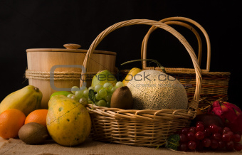 group fruits in dark background