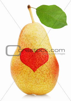 Red yellow pear with heart symbol