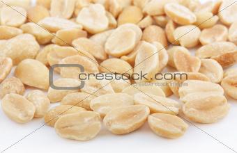 Salted peanuts on white