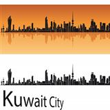 Kuwait City skyline in orange background