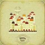 Retro card - cartoon little town