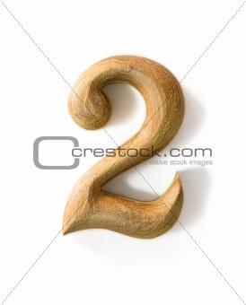 Wooden numeric 2