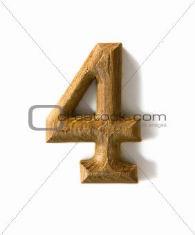 Wooden numeric 4