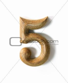 Wooden numeric 5
