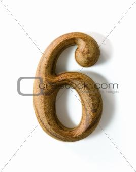 Wooden numeric 6