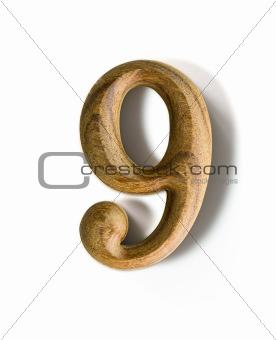 Wooden numeric 9