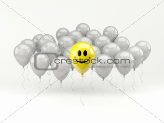 Happy smiling air balloon on white background