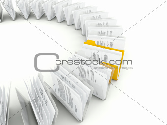 Row of folders with files