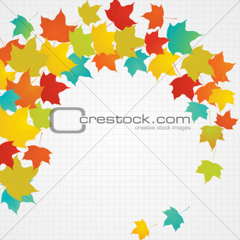 Autumn flying leaves with blank copy space