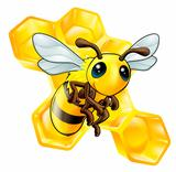 Cartoon bee with honeycomb