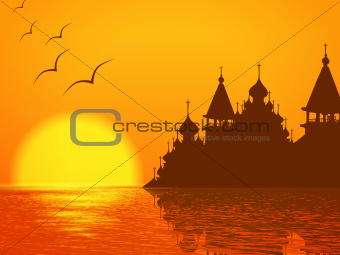 Church Cupola Silhouette and Sunset