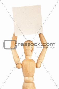 Wooden dummy holding paper