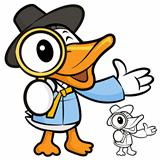Magnifying glass duck. A duck Character