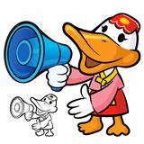 Loudspeaker to promote Korea duck. A duck Character