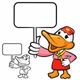 Carrying banners in Korea duck. a duck Character
