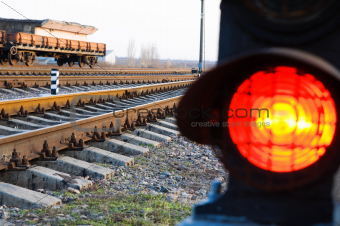 stop signal lamp on railway