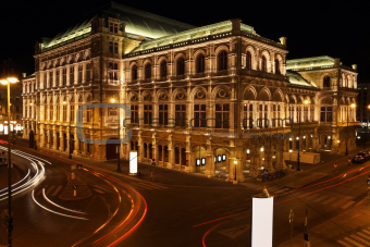 The Vienna Opera house at night in Vienna, Austria