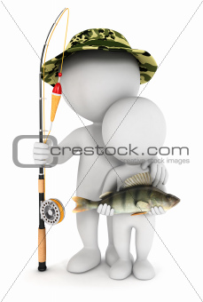 3d white people fishing with his son