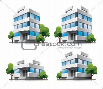 Four cartoon office vector buildings with trees.