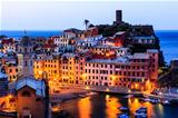 Vernazza Castle and Church at Early Morning in Cinque Terre, Ita