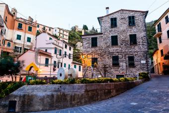 Narrow Street of Old Vernazza at Morning, Cinque Terre, Italy