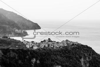 Villages Corniglia and Manarola at the Morning in Cinque Terre,