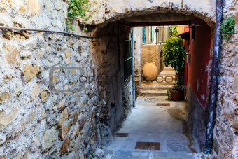 Archway with Big Pot in the Village of Corniglia, Cinque Terre,