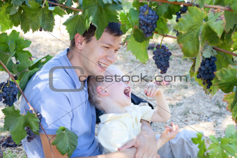 father and son eating grapes