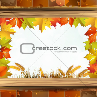 Frame with autumn colorful leaves