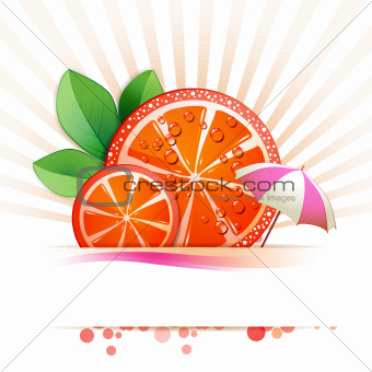 Slice of red grapefruit
