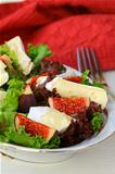 delicious salad with figs and Brie cheese