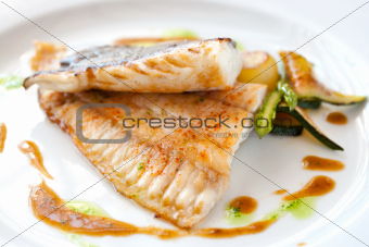 Grilled brill fish.
