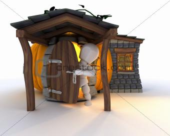 Man in Halloween Pumpkin Cottage