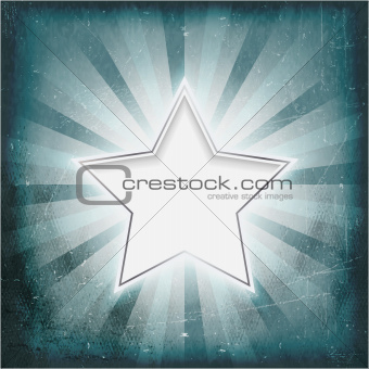 Silver rimmed star on aged light rays parchment