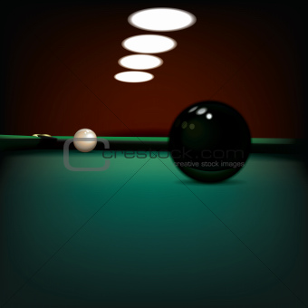abstract illustration with billiard balls on green cloth