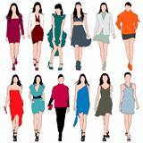 12 Fashion Models Silhouettes Vector Set