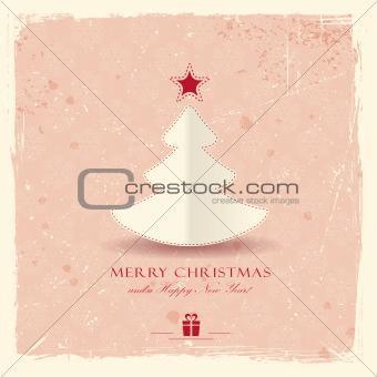 Grunge background with Christmas tree