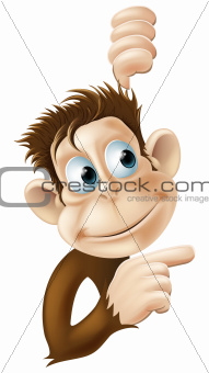 Monkey pointing and looking illustration