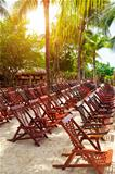 Wooden Deck Chairs on Caribbean Beach