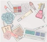 Makeup and cosmetics background. Background with makeup elements