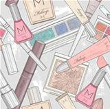 Seamless makeup and cosmetics pattern.