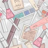 Seamless makeup and cosmetics pattern.
