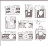 Retro photo cameras set. Vector illustration. Vintage cameras wi