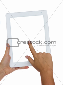 hands holding and pointing at modern tablet PC